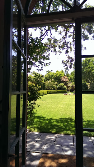 View from inside the garden house.