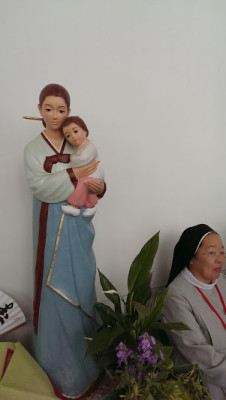 Korean Madonna and child (with bonus picture of wonderful sister)