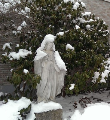 Mary under a mantle of snow, Oneonta, NY